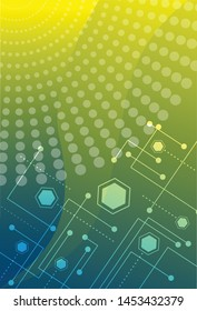 Scientific futuristic interface digital screen technology shapes, hexagon, lines and lines dotted white neon light. Circuit boards circles in corner, on yellow green background. Vector illustrator.