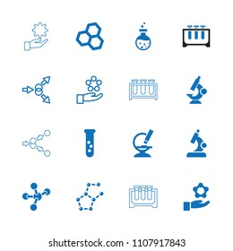 Scientific icon. collection of 16 scientific filled and outline icons such as test tube, chemical structure, microscope. editable scientific icons for web and mobile.