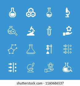 Scientific icon. collection of 16 scientific filled and outline icons such as microscope, test tube, atom move, atom in hand. editable scientific icons for web and mobile.