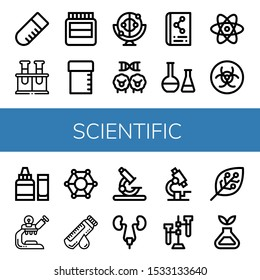 scientific icon set. Collection of Test tube, Chemical, Hormones, Sample tube, Momentum, Cloning, Scientific, Atom, Biohazard, Ph meter, Microscope, Molecular, Blood sample icons