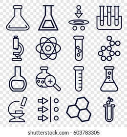 Scientific icons set. set of 16 scientific outline icons such as heart test tube, microscope, test tube, test tube search, atom, atom move