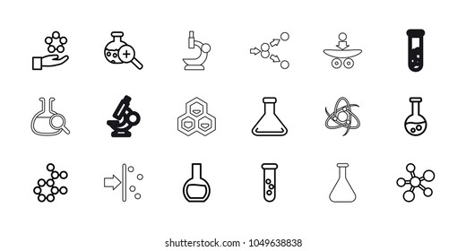 Scientific icons. set of 18 editable outline scientific icons: test tube, atom, atom in hand, test tube search, microscope, atom move