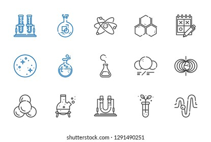 scientific icons set. Collection of scientific with physics, test tube, flask, molecule, magnetic field, mercury, trial, atom. Editable and scalable scientific icons.