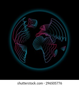 The scientific illustration of the earth, earth map, continents and parts of the world as colored lines downward to the center of the earth.