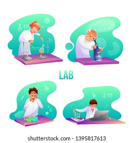 Scientific lab workers flat illustrations set. Medic testing cure in medical laboratory. Biologist looking in microscope. Biochemist making researches. Chemistry student breaking glass with chemicals