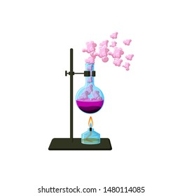 Scientific laboratory experiment. Chemical beaker with solid, boiling liquid and vapor, tripod and alcohol burner isolated on white background. Cartoon style vector illustration.