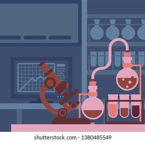 A scientific laboratory with microscope and other science lab equipment