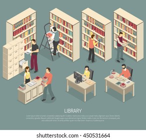Scientific library published materials shelves with ladder and online documents and catalogs access computers isometric abstract illustration
