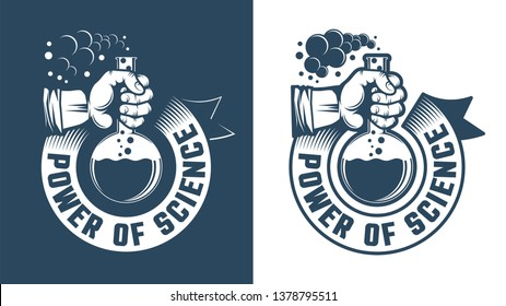 Scientific logo - hand holding a flask and round ribbon. Chemistry emblem in retro style. Vector illustration.