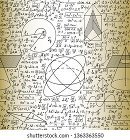 Scientific math vector seamless pattern with handwritten formulas, geometrical figures and equations, old paper effect
