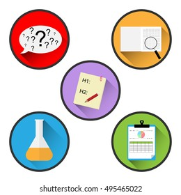 Scientific method icon set vector design. Step 1 Definition of problem, Step 2 Collect information, Step 3 Statement of hypothesis, Step 4 Experimenting and  Step 5 Conclusion