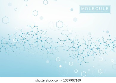Scientific molecule background DNA double helix illustration with shallow depth of field. Mysterious wallpaper or banner with a DNA molecules. Genetics information vector.