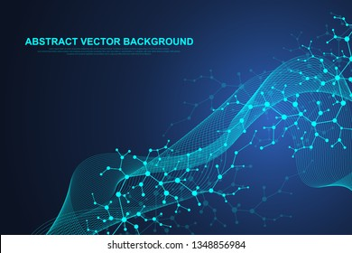 Scientific molecule background for medicine, science, technology, chemistry. Waves flow. Wallpaper or banner with DNA molecules structure, dots, lines. Vector geometric dynamic illustration.