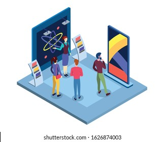 Scientific museum isometric vector illustration. Science fair presentation, tradeshow promoter and visitors flat characters. Commercial exposition, tradeshow exhibition place 3d interior
