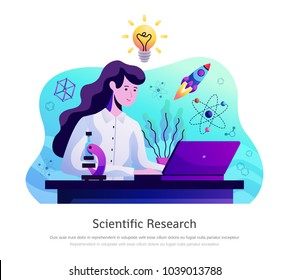 Scientific research abstract colorful composition with young lady in lab coat with microscope behind laptop vector illustration