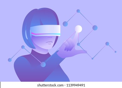 Scientific research and education in virtual reality. Woman wearing vr headset and touching digital interface. Vector illustration