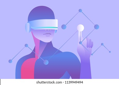 Scientific research and education in virtual reality. Man wearing vr headset and touching digital interface. Vector illustration