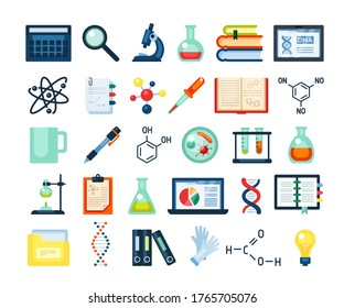 Scientific research inventory set. Electron microscope dna rna molecular formula laptop research infographics test tubes material books on genetics pen cup coffee flask vaccine. Research flat vector.
