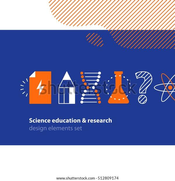 Scientific research, science education icons set. Flat design vector illustration. Scientific study, education concept