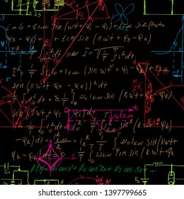 Scientific seamless color background with handwritten mathematical and physical formulas, electronic components, schematic diagram and circuit of  the devices. Electrician pattern in colour. Vector.