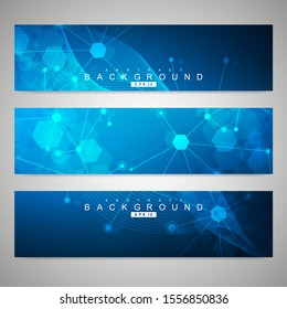 Scientific set of modern banners. DNA molecule structure with connected lines and dots. Scientific and technology concept. Wave flow graphic background for your design. illustration.