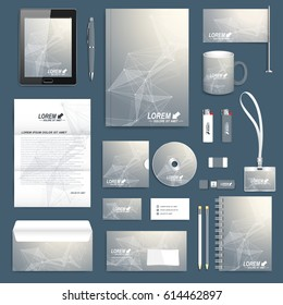 Scientific set of vector corporate identity template. Modern stationery mock-up. Geometric graphic background molecule and communication. Business, science, medicine and technology branding design