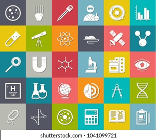 scientific study Icons, science education icons, chemistry study and research icons, medical icons