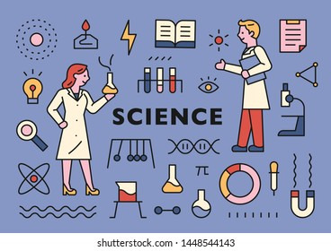 Scientific symbols, scientist characters, and instrument icons on a page. flat design style minimal vector illustration.