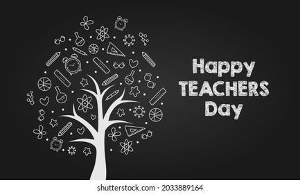 Scientific Tree Trunk for World Teacher Day Illustration Vector