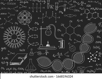 Scientific vector endless texture with chemical formulas, equations, viruses and dna, handwritten on grey blackboard with chalk
