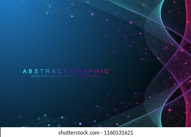 Scientific vector illustration genetic engineering and biotechnology concept. DNA helix, DNA strand, molecule or atom, neurons. Abstract gene manipulation or medical background