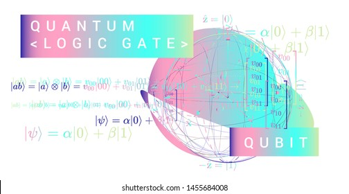 Scientific vector illustration of quantum-mechanical computing systems: Bloch sphere representation of a qubit. The probability amplitudes for the superposition state, spin up and spin down.