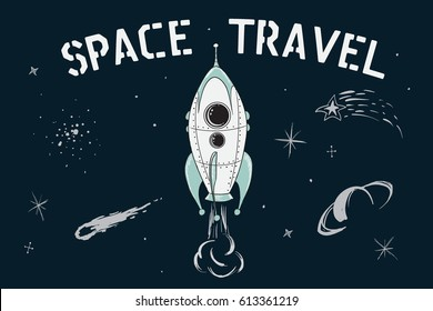 scientific vector illustration.Space travel of rocket in deep cosmos. Childish cartoon style