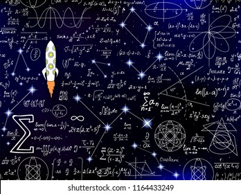 Scientific vector seamless background with handwritten mathematical and physical formulas, rocket, plots and figures
