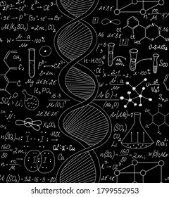 Scientific vector seamless pattern with handwritten dna, formulas and equations