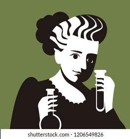 scientific woman testing flasks