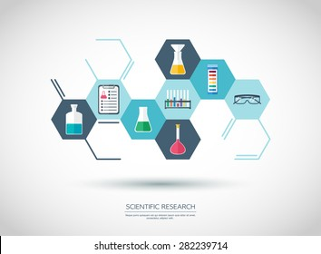 Scientificconcept. Chemical banner, background, cover. Chemical icons. Flat design. vector illustration