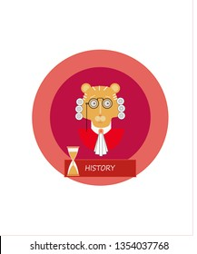 Scientist in a 18th century wig and glasses. Lion in the image of a scientist. . 18th century man.  18th century men curled wigs or perukes. historian. hourglass