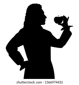 The scientist with an apple silhouette vector