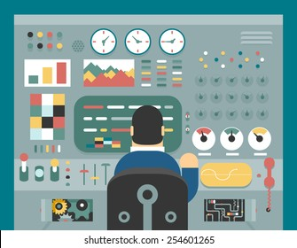 Scientist businessman work in front of control panel analysis production development study flat design concept illustration