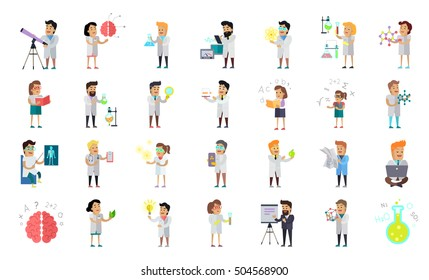 Scientist character collection. Scientists at work. Male and female scientist illustration. Chemistry, medicine, physics biology scientist infographic in flat style. Science and technology development