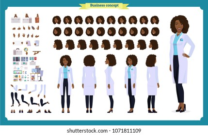 Scientist character creation set.Black Woman works in science laboratory at experiments. Full length, different views, emotions, gestures. Build your own design. Cartoon flat style infographic
