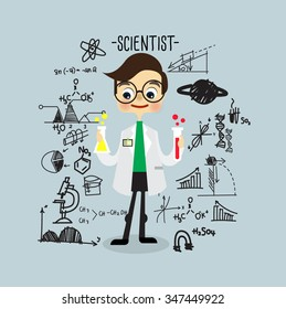 Scientist. Character Design.Vector illustration
