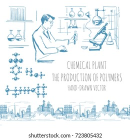 Scientist Chemist in the Chemical Laboratory. Plant for the production of polymers, molecules. Hand drawn vector sketch.