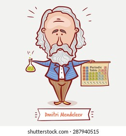 The scientist chemist Dmitri Mendeleev with a chemical  flask and the periodic table  in a blue jacket with a beard.