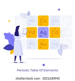 Scientist or chemist in lab coat looking at tabular display of chemical elements arranged by atomic number. Concept of Mendeleev periodic table. Modern flat vector illustration for poster, banner.