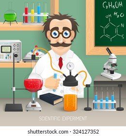 Scientist in chemistry lab with realistic scientific experiment equipment vector illustration
