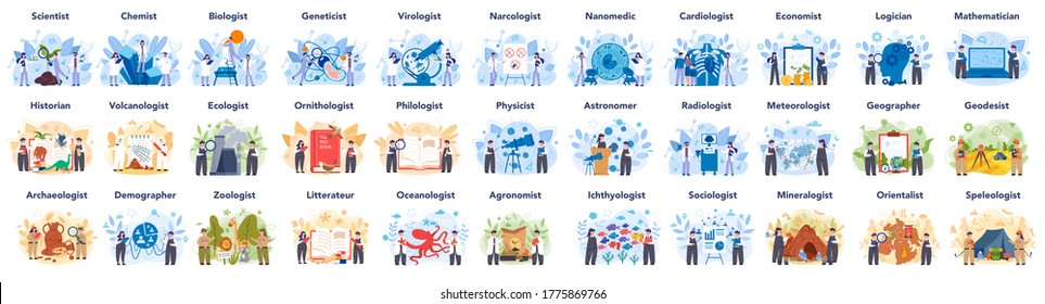 Scientist concept set. Idea of education and innovation. Biology, chemistry, medicine and other subjects systematic study. Isolated flat illustration