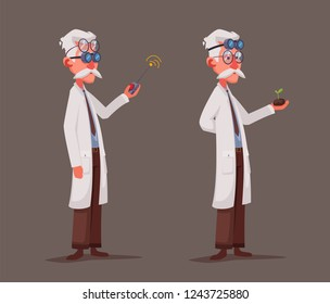 Scientist is conducting a scientific experiment. Remote controller. Funny character. Cartoon vector illustration. Mad professor. Person with glasses
