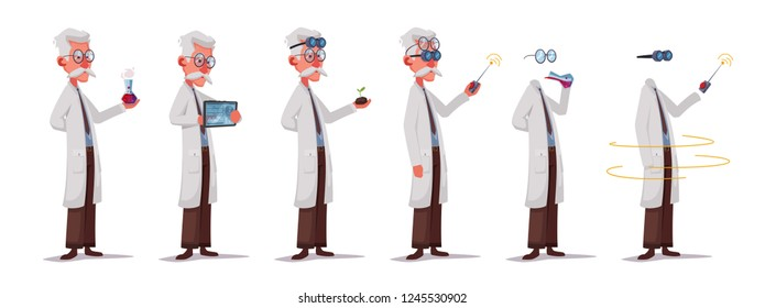 Scientist is conducting a scientific experiment. Remote controller. Funny character. Cartoon vector illustration. Mad professor. Person with glasses. Invisible man